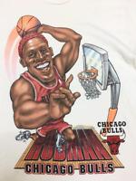 Vintage 90s DENNIS RODMAN Chicago Bulls Basketball T-Shirt Size S to 2XL G191