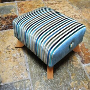 Biagi Upholstery & Design Teal, Green Striped Stool with Curved Legs - ON SALE