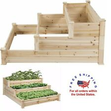 Raised Garden Planter Box Vegetable Flower Herb Outdoor Large Kit Wood 3 Level