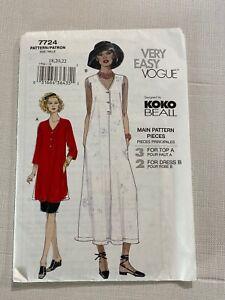 Very Easy Vogue Sewing Pattern 7724 Designer Koko Beall Dress Top Skirt 18 20 22