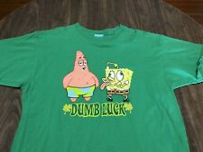 Spongebob Square Pants & Patrick Dumb Luck XL Green T Shirt Nickelodeon 2001