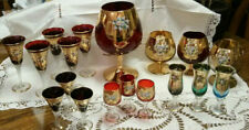 Vintage Bohemian Czech Hand Painted Glasses and Goblets Lot of 18 Pices