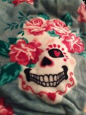 PLUSH Day Of The Dead SUGAR SKULL Pink ROSES Hearts Throw BLANKET Halloween NEW