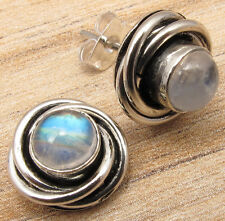 Natural Blue Fire Cabochon MOONSTONE Stud Post Earrings ! 925 Silver Plated Gift