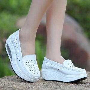 Women Nursing Slip On Sneakers Shoes Platform Wedges Shoes Loafers Comfort Shoes