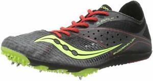 Saucony Men's Endorphin LD4 Track Spike, Black/Citron/Red, 13 D(M) US