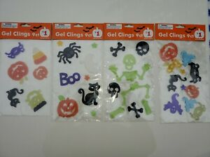 Happy Halloween Ghosts Skeletons Pumpkin Cat Gel Window Clings. 4 packs  New