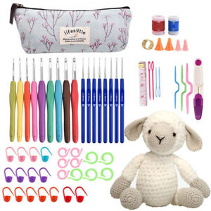 59 Set Crochet Hook Yarn Ergonomic Grip + Bag Kit Knitting Needle Sewing Tool UK