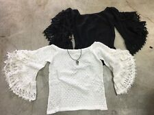 JEN'S PIRATE BOOTY FREE PEOPLE Lace Crochet Off Shoulder Bell Sleeves Boho Top L