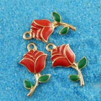 20PCS Gold Alloy Red Enamel Rose Charms For Jewelry Pendants Fashion Wholesale