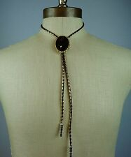 Vintage Bolo Tie Lariat Black Gold Large Stone w/ Filigree Edges