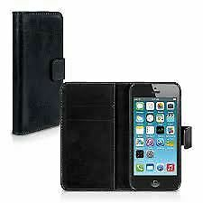 Apple iPhone 5/5s/SE Leather Wallet Style Case - Black