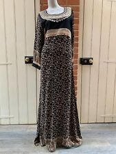 BNWT Black Gold Embellished Full Length Arabic Dress 10 Bead Braid Sequin