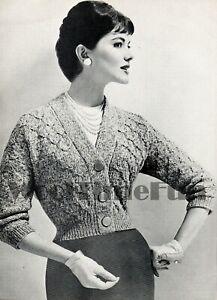 Knitting Pattern Vintage 1950s Lady's Cardigan/Jacket. V-Neck Cable Design.