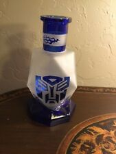 "Transformers Glass Bottle Decanter Blue & Frosted 11"" x 6"" Vase Optimus Prime"