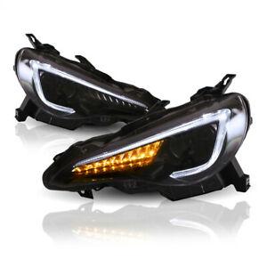 2* LED DRL Projector Headlights Dynamic Signal For 12-19 Toyota 86 GTS Subaru