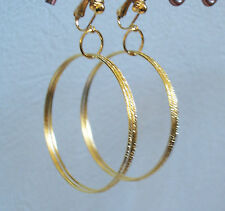 Gold Faceted Triple Hoop Clip-on Earrings (55mm) FashionJools Handmade