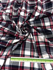 "Red White & Black Plaid Woven Cotton Fabric 44""W  DRAPE TABLECLOTH Quilt Shirt"