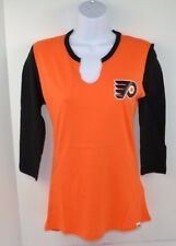 NHL PHILADELPHIA FLYERS NHL 3/4 Sleeve Notch Neck Tee T-Shirt, Orange SMALL New