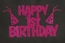 Happy 1st Birthday with party hats - hot pink glitter cardstock