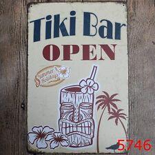 Metal Tin Sign tiki bar open Bar Pub Vintage Retro Poster Cafe ART