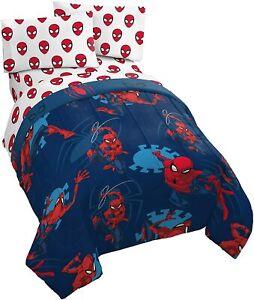 Marvel Comic Spider-Man Boys Queen Comforter & Sheet Set -NEW! (5 Piece Bedding)