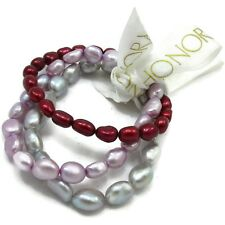 Set of 3 BAROQUE HONORA Pearls~Stretch Bracelets~7MM-8MM~