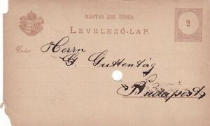 Hungary 1884 2c Budapest postal stationary Postcard damaged