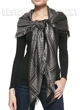 """GUCCI gray shimmer GG Diamante CAVENDISH Giant 55"""" PASHMINA shawl scarf NWT Auth"""