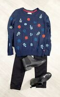 Mantaray Pull Over Jumper Navy Blue Size 12 Leaf Autumn Long Sleeve
