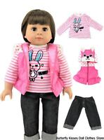 "Bunny Rabbit Puffer Vest+ Shirt+Capri Jeans 18""  Doll Clothes Fits American Girl"