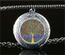 Tree of Life Blue Yellow Cabochon LOCKET Pendant Silver Chain Necklace USA #26