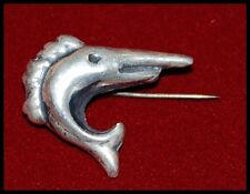 Unusual Old Silver Swordfish Vintage Brooch Sword Fish Pin for Fisherman s Hat