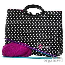 Large Deep Needle Sewing Crochet Accessory Bag Knitting Tote Polka Dot