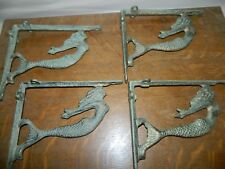"Set/4~Rustic Mermaid Nautical Aged Iron Wall Shelf Support Brackets 8-10"" Shelf"