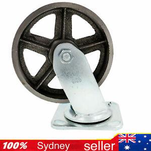 """2PCE 6"""" Caster CAST IRON SWIVEL CASTOR wheel for trolley Bin workbench 430KG"""