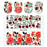 2 Sheets BORN PRETTY Nail Art Water Decals Transfer Stickers Red Rose Flower Tip