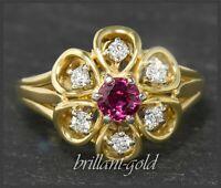 Rubin & Diamant Brillant Cocktail Ring mit 1ct, 750 Gold, Goldschmied Handarbeit