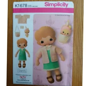 SIMPLICITY PATTERN UNCUT RAG DOLL WITH CLOTHES & TOY