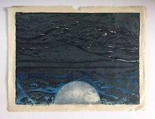 Salvador Benitez, Signed Moon Landscape Vintage Woodcut 1976, Puerto Rico Art