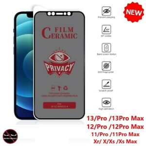 9H Privacy Anti-Spy Ceramics Screen Protector For iPhone 13/12/11/X/Xr/Pro Max
