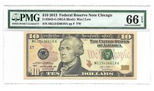 2013 $10 CHICAGO FRN, PMG GEM UNCIRCULATED 66 EPQ BANKNOTE