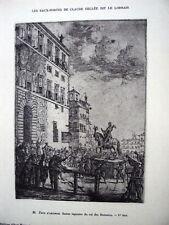 PLANCHE D APRES CLAUDE GELLEE DIT LE LORRAIN 1923 STATUES EQUESTRE DU ROI ROMAIN