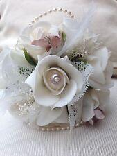 VINTAGE  IVORY CHAMPAGNE ROSES  WAND FLOWERGIRLS BOUQUET BRIDE WEDDING FLOWERS