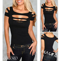 Exposure black Bust hole Vest Tank women sexy Tops club wear Blouse Shirt US