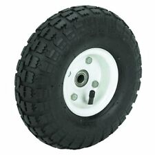 """10"""" Haul-Master Pneumatic Tire on White Wheel 4.10/3.50-4 Knobby Tread, 1pc only"""