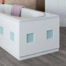 Modern Frosted Square White Gloss Bath End Panel 700mm MDF Adjustable Plinth