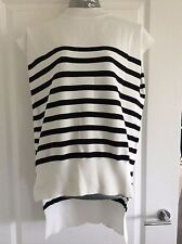 M&S Collection Range Size 20 Cream And Dark Striped Top With Dip Back