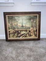 Mid Century European Oil Painting Paris France Tower Bridge Signed By Artist