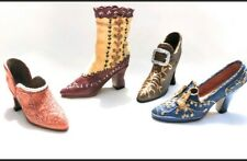Set of 4 Miniature Victorian Vintage-Inspired Resin Ceramic Shoes & Boot Nib